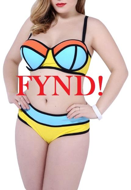 Gul och blå bikini - FYND (4XL)