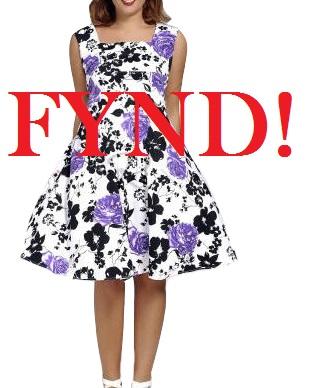 Lilablommig klänning - FYND (3XL)