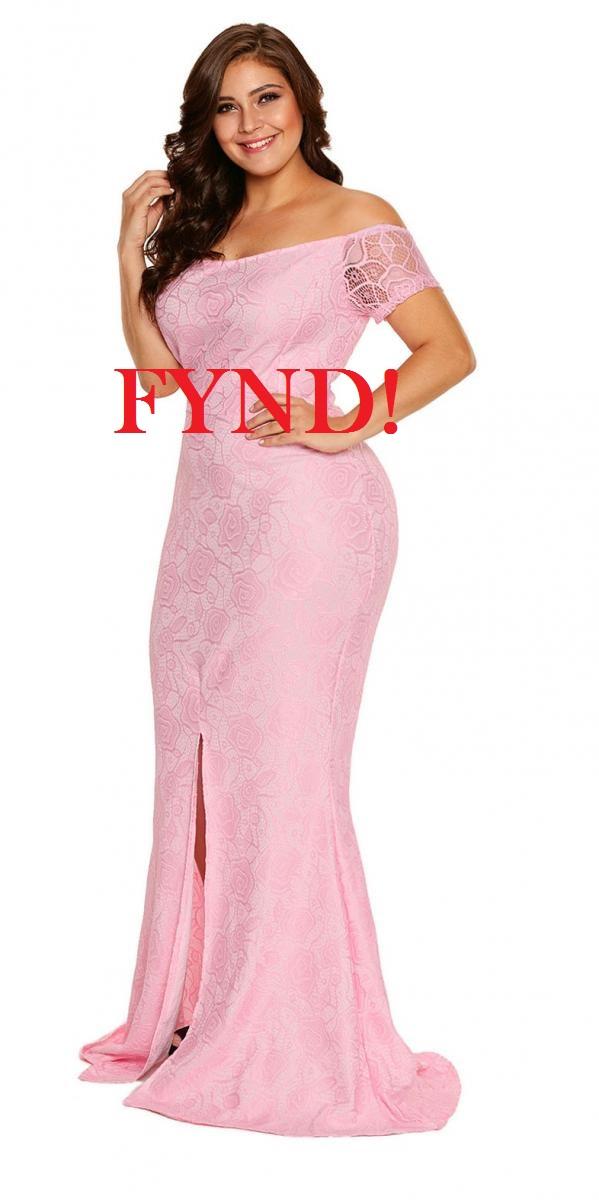 Rosa lång spetsklänning - FYND (XL)